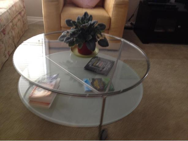 Ikea glass round coffee table