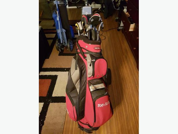 Spalding EZX os Left Handed set of Iron with Top Flight Bag