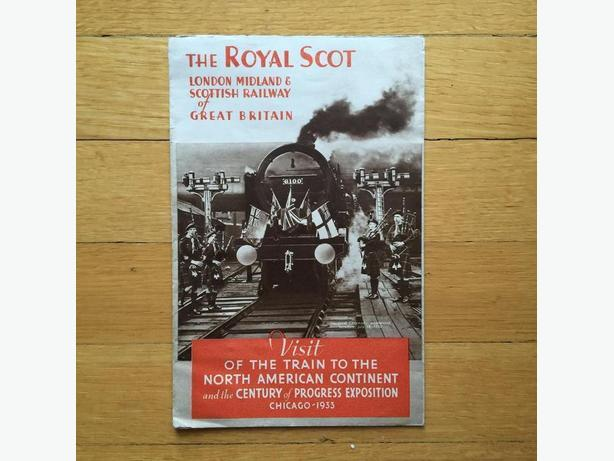 1930's The Royal Scot L.M.S. Railway Brochure w/Chicago 1933 Expo ad
