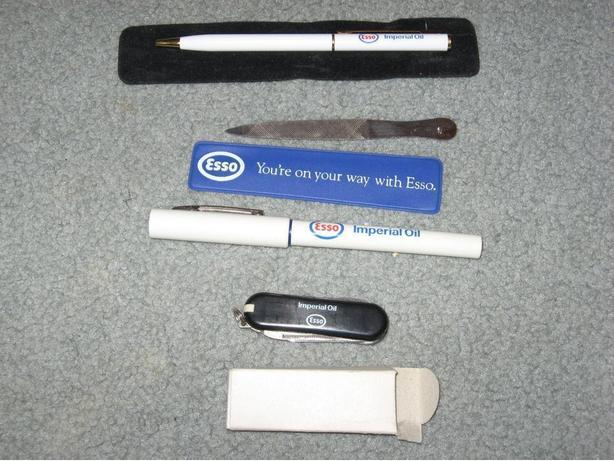 Esso imperial oil  knife , 2 pens and nail file  advertising