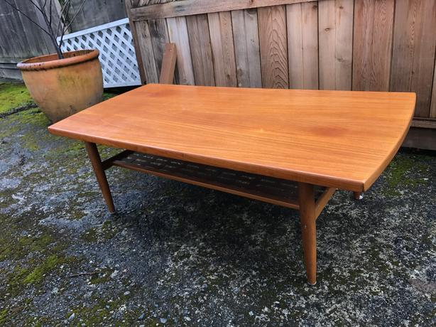 Teak Coffee Table With Basket Weave Shelf Underneath Victoria City Victoria Mobile