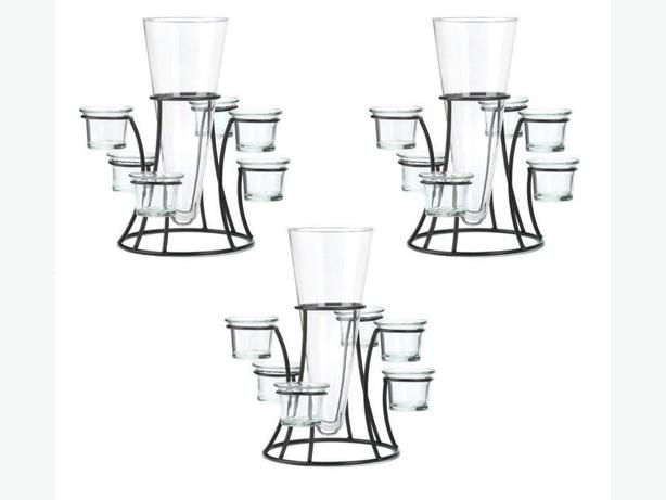 Round Candleholder Stand with Vase Center Wedding Table Centerpiece 3 Lot New