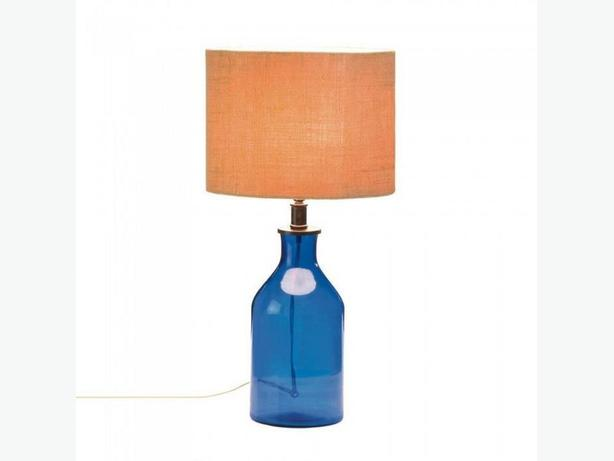 Blue Glass Jar Bottle Table Lamp with Fabric Shade Brand New