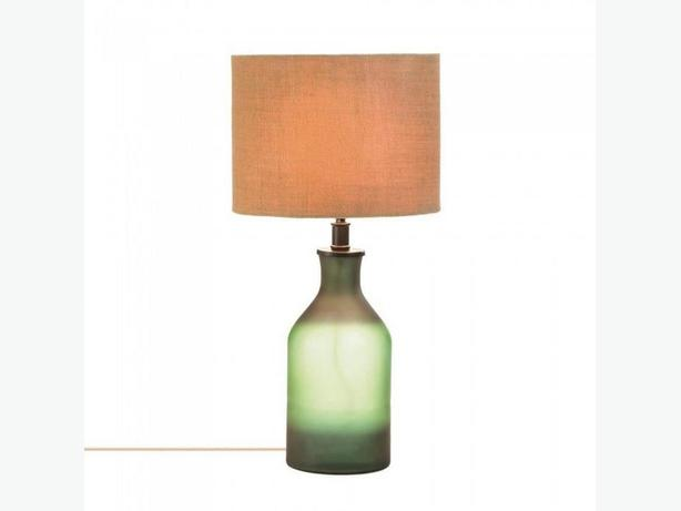 Two-Tone Green Glass Jar Bottle Table Lamp with Fabric Shade Brand New