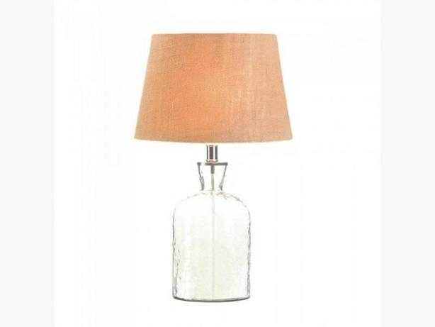 Clear Glass Jar Bottle Jug Table Lamp with Fabric Shade & Hammered Texture New