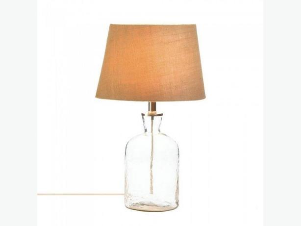Clear Glass Jar Bottle Jug Table Lamp with Fabric Shade & Ripple Texture New