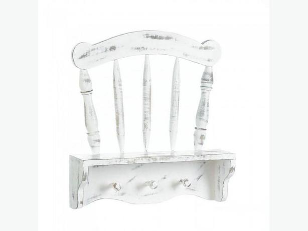 Shabby Chic Distressed White Chair Wall Shelf with Hanging Pegs New Wood