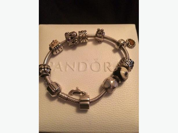 PANDORA bracelete ( 21 cm or 8.3 inches) and 9 charms and 2 spacers