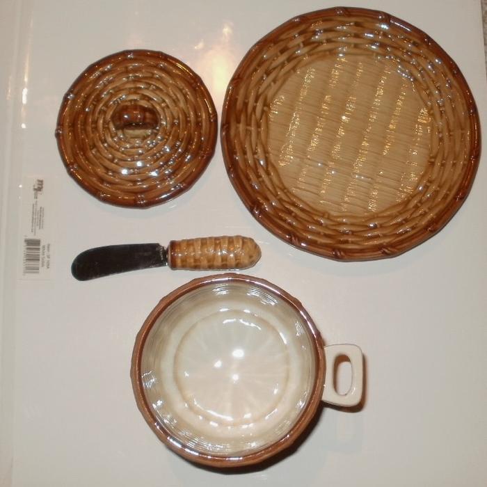 Basket Weaving Peterborough : Vtg otagiri basketweave jam honey jar w spreader