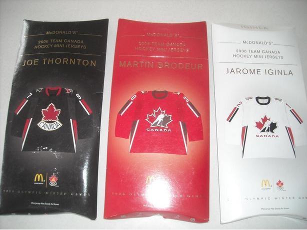 2006 McDONALD'S TEAM CANADA HOCKEY MINI JERSEYS