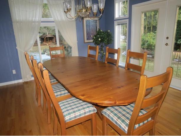 Drastically reduced- Solid Wood Dining & Eight Chairs