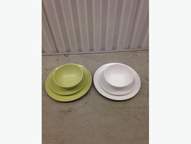 Ikea Fargrik Series, White & Green, Assorted Stoneware Dishes ...