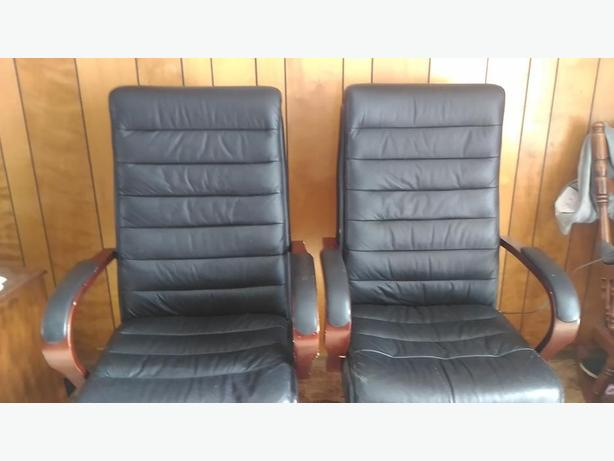 pair of high back office chairs
