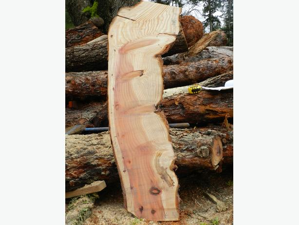 """SEQUOIA REDWOOD SLAB LIVE EDGE 2""""x11/11/17""""x46"""" STRIPPED AND RED HEARTWOOD S3"""
