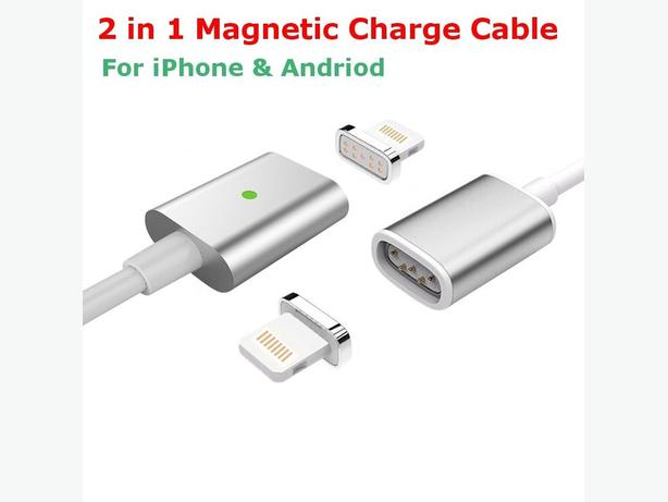 New 2 in 1 Magnetic Adapter USB charger Cable For iPhone Android