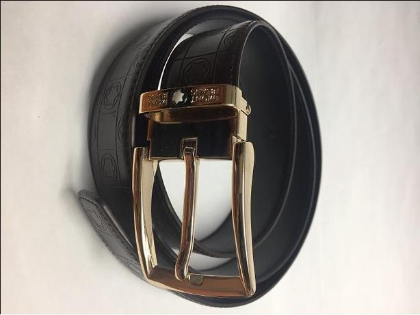 New Mont Blanc Premium Gold Buckle Leather Belt