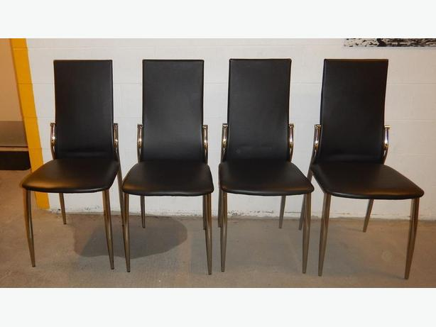 Set of 4, Black Leatherette and Chrome Dining Room Chairs