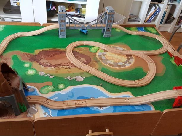 Train Table with Train Tracks and Sets
