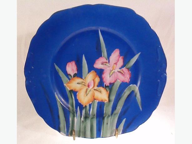 Japanese hand-painted iris plate