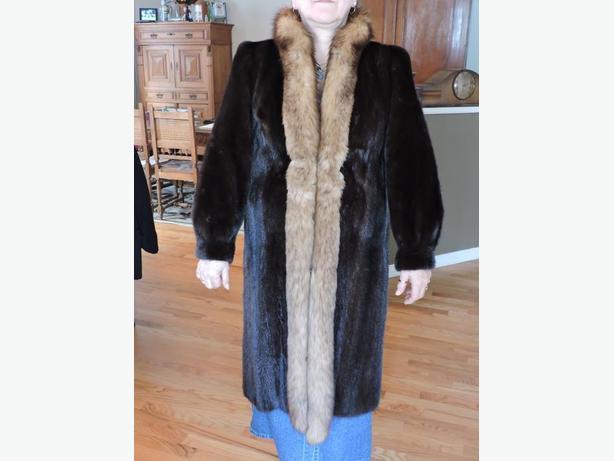 Fur Coat Mahogany Mink Crystal Fox Trim