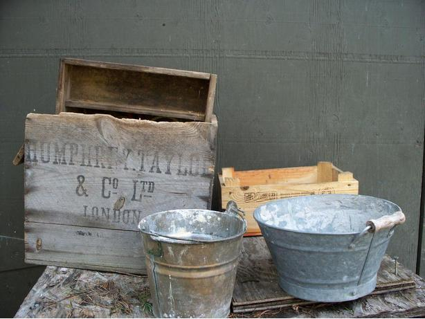 Old Wooden Crates & Pails