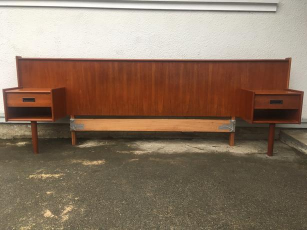 Danish Teak Queen Size Headboard with attached Night tables