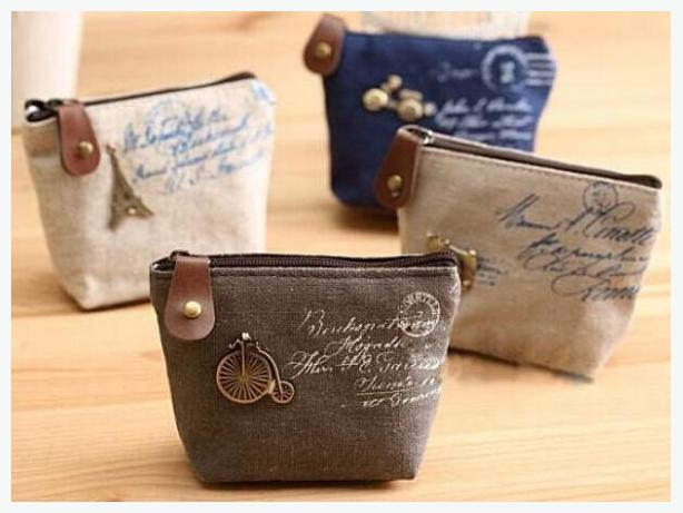 Porte monnaie -  petite sac de toile en lin