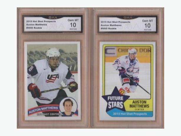 "2 Auston Matthews Hot Shots Rookie Cards, Graded a 10 ""GEM"""