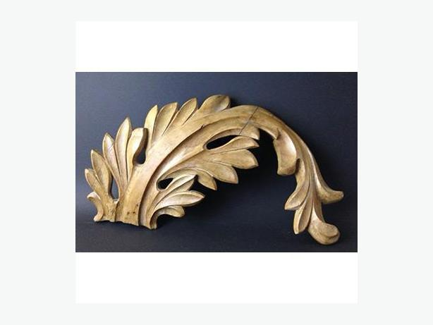 Antique pine carving of an acanthus leaf