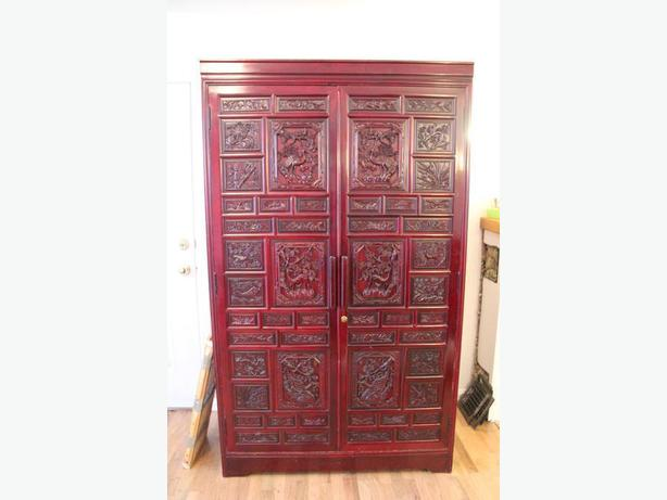 LARGE, CARVED ANTIQUE ARMOIRE
