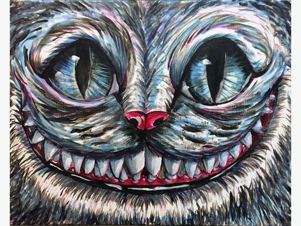 """Cheshire Cat Painting Original Art on Stretched Canvas 20x16"""""""