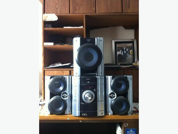 sony stereo, CD, cassette, radio, speakers, subwoofer