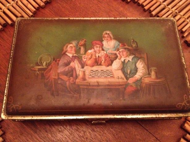 """Very Old Metal Trinket Box """"Pilgrims Playing Chess"""", 8"""" wide"""