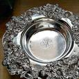 Vintage Sterling Silver Wine Coaster with Cast Floral Rim