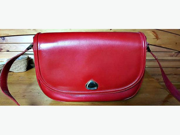 Italian Leather Red Round Bag
