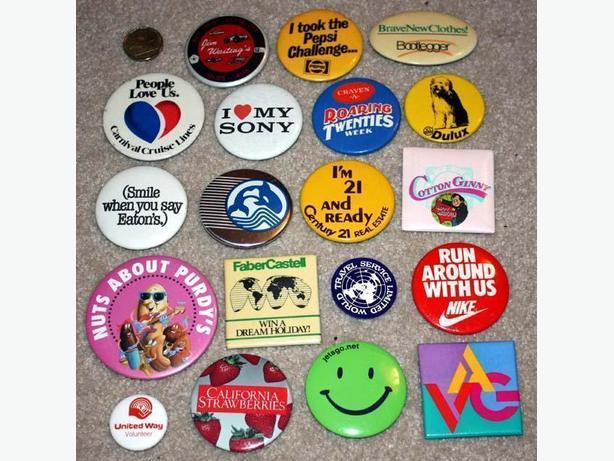 Collectible Pinback Buttons from the 70s and 80s!