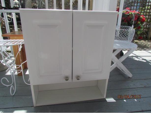 White 2 shelf wall bathroom cabinet 24 x 29 inch outside for Bathroom cabinets nanaimo