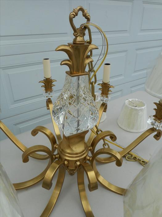 Obo Heavy Solid Brass And Crystal 8 Lite Chandelier Like