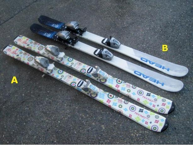 117cm & 120cm skis c/w bindings