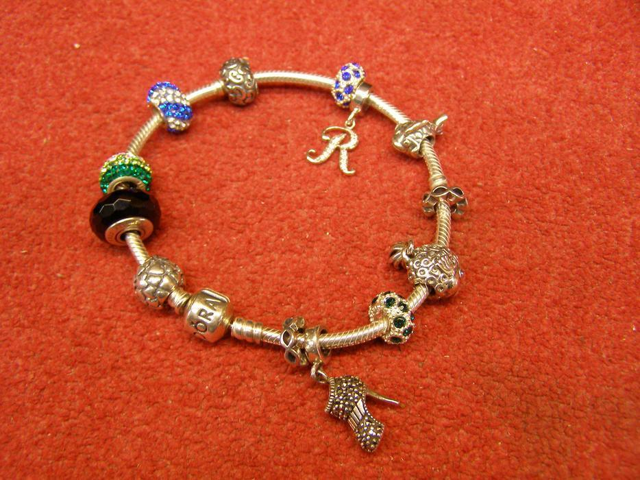 8 inch pandora silver bracelet with 10 silver charms for Pandora jewelry salt lake city