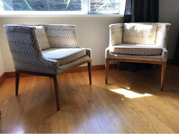 Two great chairs for sitting and watching your living room go by.