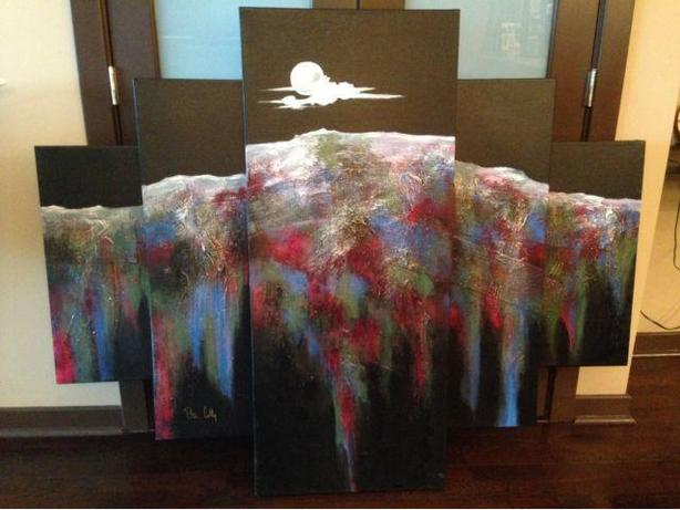 Original large abstract painting (42in H x 62in W)