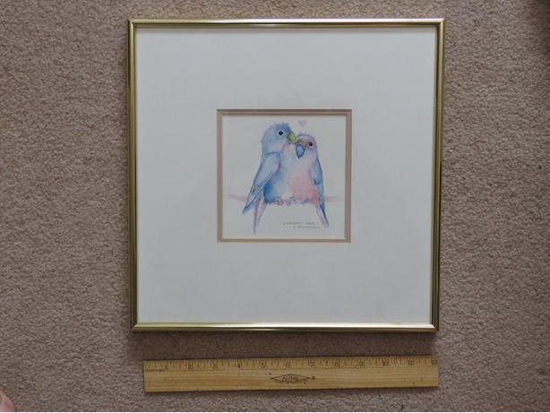 """Framed Print  """"Lovebird Pair"""""""