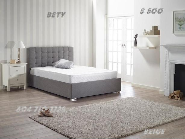 PLATFORM LEATHER BLACK & WHITE OR BEIGE & GREY FABRIC BED FRAME FOR SALE
