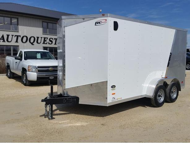 "2017 RC Trailers 7 x 14 x 78"" High V-Nose Enclosed Cargo Trailer - Barn Doors"