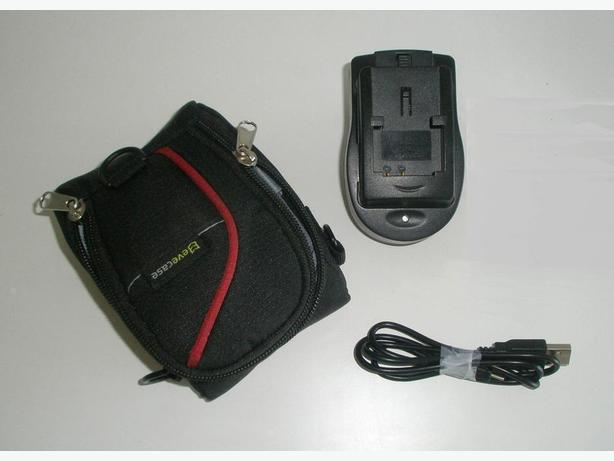 Li-on Battery Charger + Large Nylon Case + USB Cable