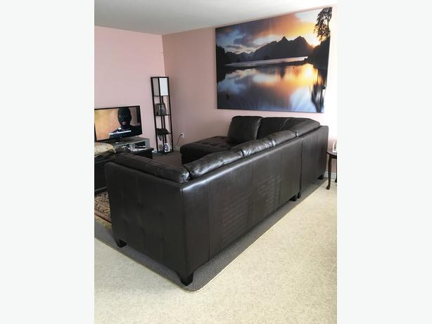 L-shaped Leather Couch  (MOVING SALE)