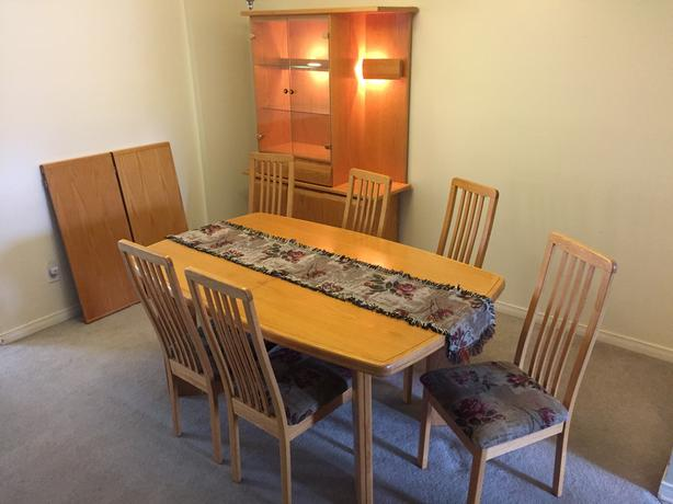 Honey Oak Dining Room Set Including Buffet and Hutch