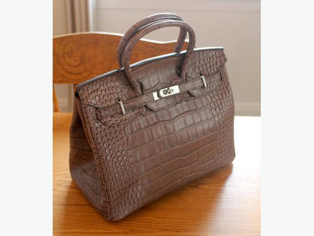 Purple / Grey Birkin-Style Tote Bag
