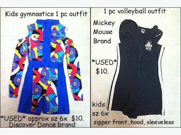 Gymnastics / Volleyball outfits $10/each (sz 6x)